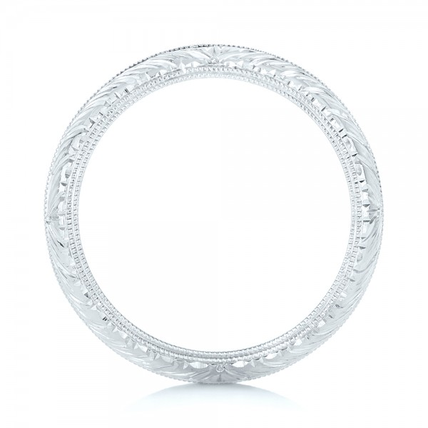 Custom Hand Engraved Wedding Band - Finger Through View