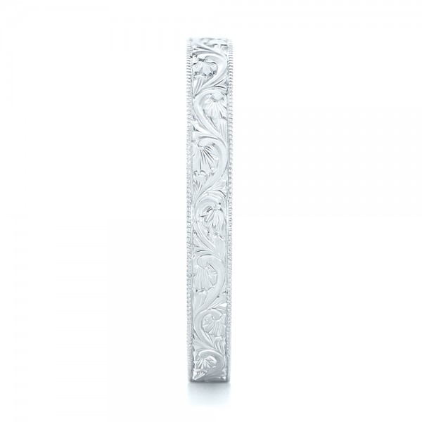 Custom Hand Engraved Wedding Band - Side View