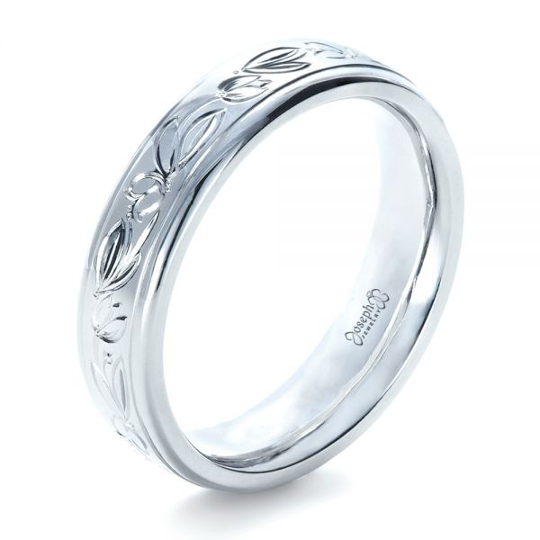 14k White Gold 14k White Gold Custom Hand Engraved Wedding Ring - Three-Quarter View -