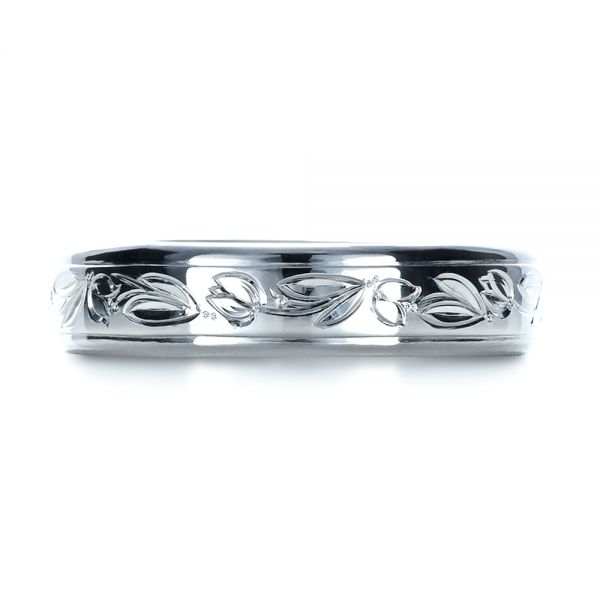 14k White Gold 14k White Gold Custom Hand Engraved Wedding Ring - Top View -