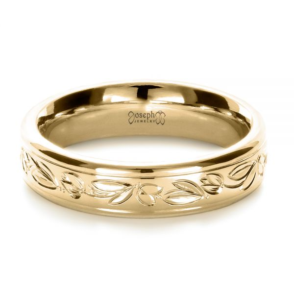 18k Yellow Gold 18k Yellow Gold Custom Hand Engraved Wedding Ring - Flat View -