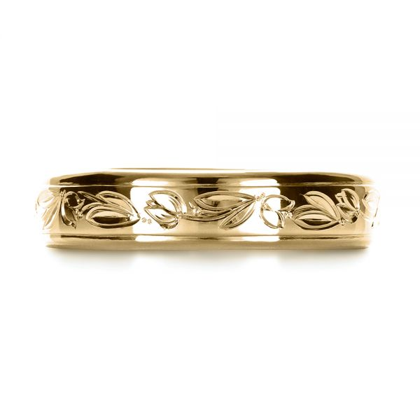 18k Yellow Gold 18k Yellow Gold Custom Hand Engraved Wedding Ring - Top View -