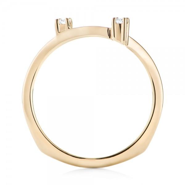 Custom Interlocking Diamond Wedding Band - Finger Through View