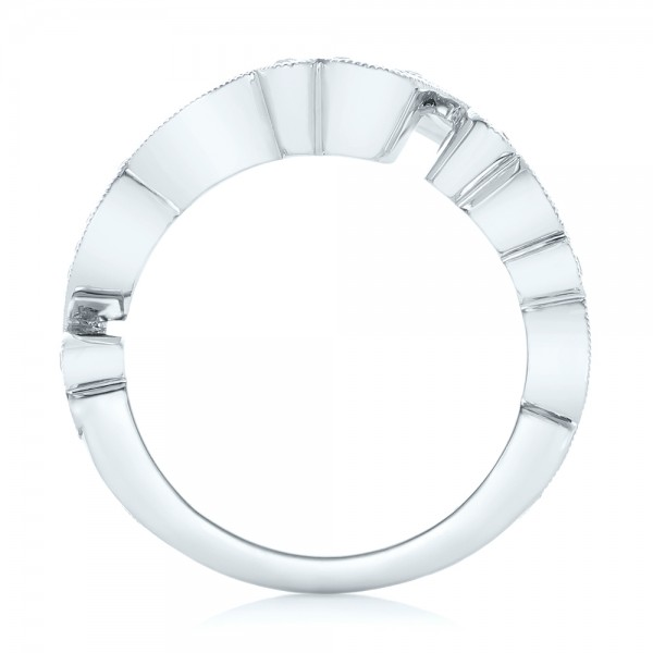 Custom Jacket Style Diamond Wedding Band - Finger Through View