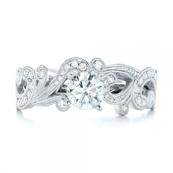Custom Jacket Style Diamond Wedding Band - Top View