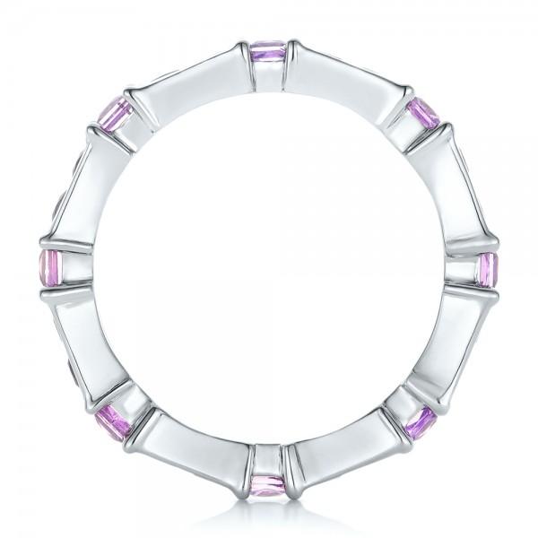 Custom Lavender Sapphire Wedding Band - Finger Through View