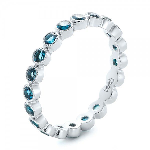 Platinum Custom London Blue Topaz Eternity Anniversary Band - Three-Quarter View -