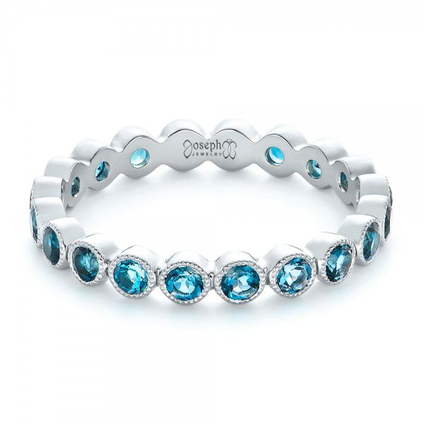 Platinum Custom London Blue Topaz Eternity Anniversary Band - Flat View -