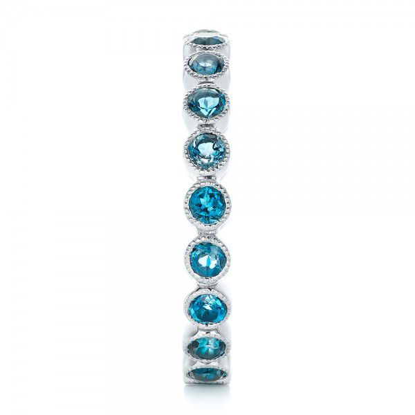 Platinum Custom London Blue Topaz Eternity Anniversary Band - Side View -