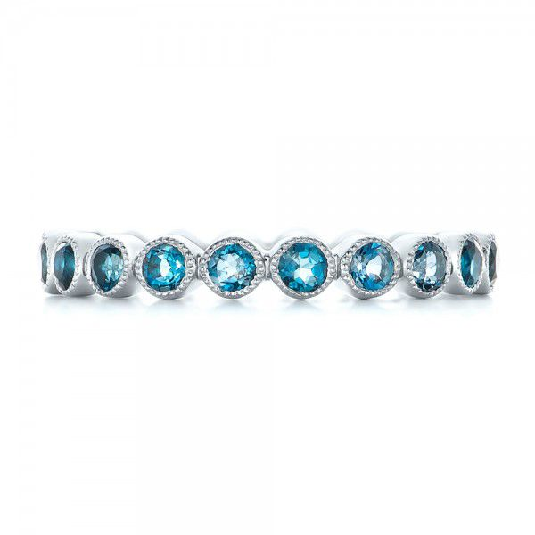 Platinum Custom London Blue Topaz Eternity Anniversary Band - Top View -