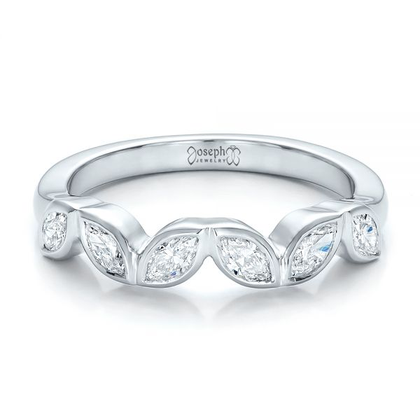Custom Marquise Diamond Wedding Band - Flat View -  100779 - Thumbnail