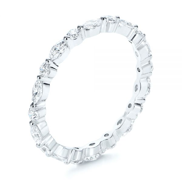 Custom Marquise and Round Diamond Eternity Wedding Band - Image