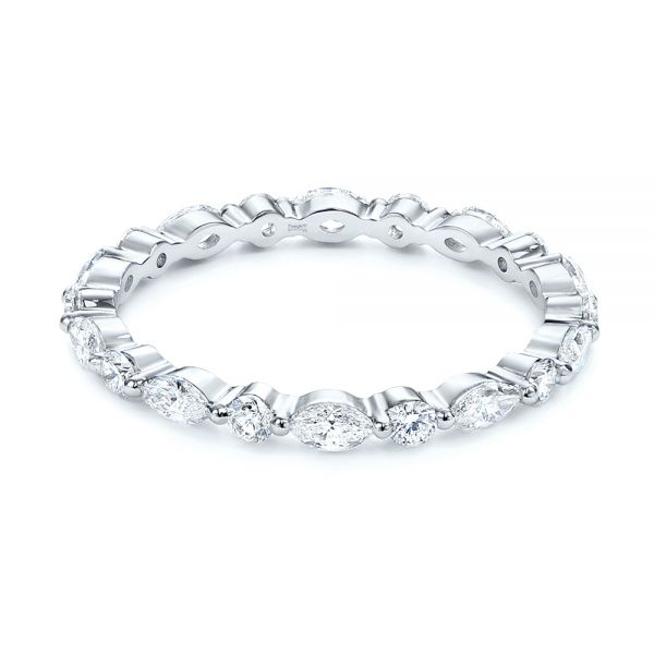 18k White Gold Custom Marquise And Round Diamond Eternity Wedding Band - Flat View -  105700