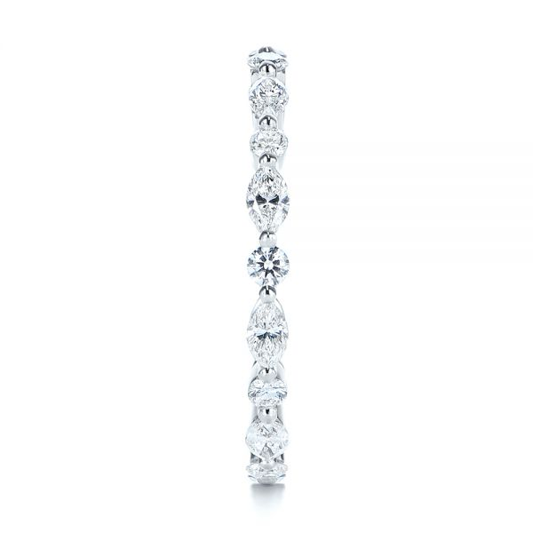 18k White Gold Custom Marquise And Round Diamond Eternity Wedding Band - Side View -  105700