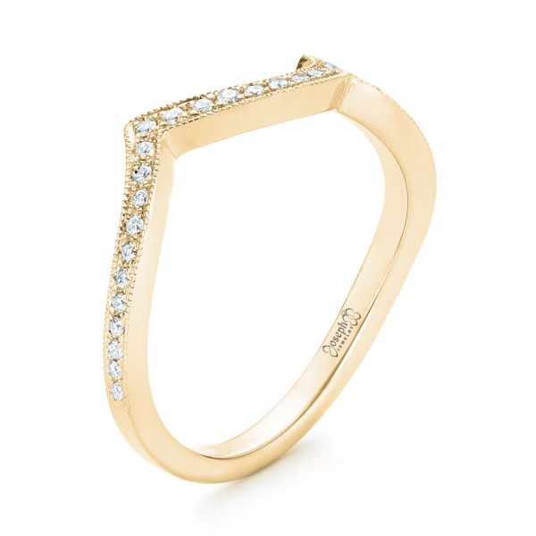 18k Yellow Gold 18k Yellow Gold Custom Matching Diamond Wedding Band - Three-Quarter View -