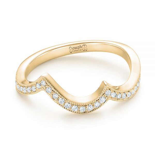 18k Yellow Gold 18k Yellow Gold Custom Matching Diamond Wedding Band - Flat View -