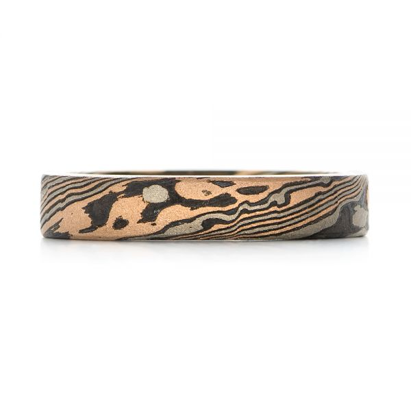 Custom Mokume Women's Wedding Band - Top View -  103376 - Thumbnail