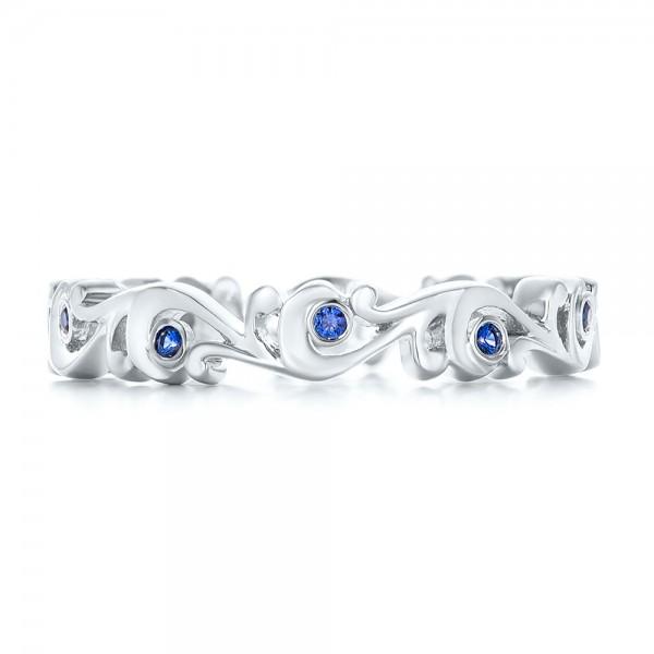 Organic Blue Sapphire Wedding Band - Top View