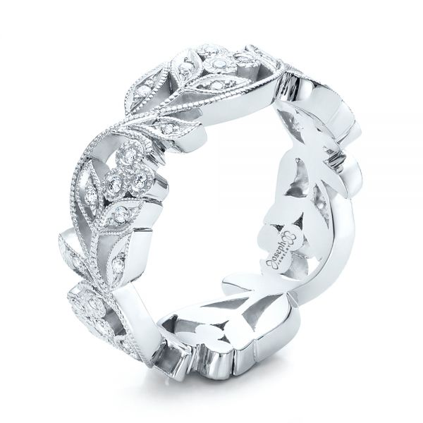 Platinum Custom Organic Diamond Eternity Band - Three-Quarter View -