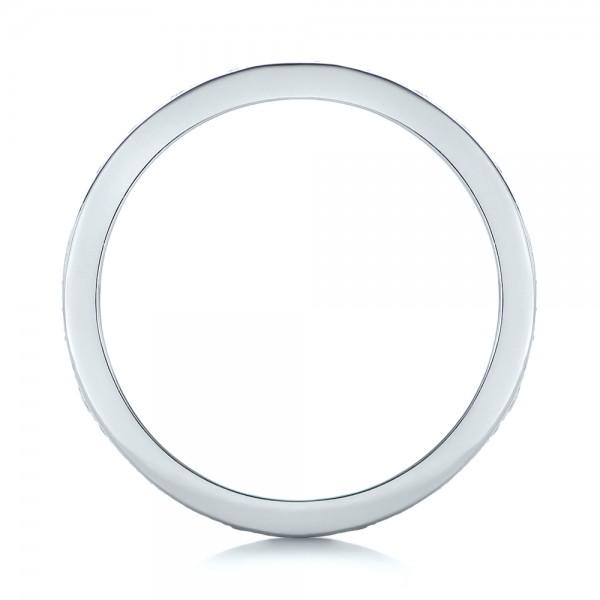 Custom Organic Diamond Wedding Ring - Finger Through View