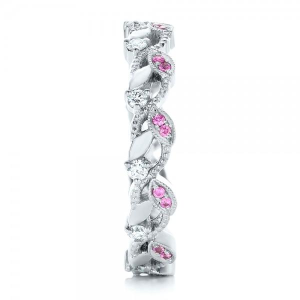 Custom Organic Pink Sapphire and Diamond Wedding Band - Side View