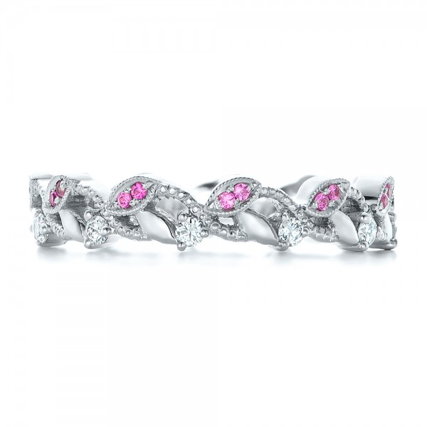 Custom Organic Pink Sapphire and Diamond Wedding Band - Top View