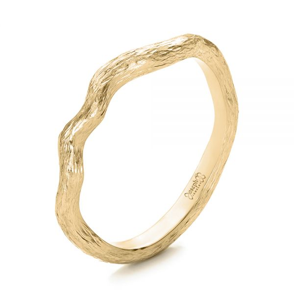 14k Yellow Gold 14k Yellow Gold Custom Organic Wedding Band - Three-Quarter View -