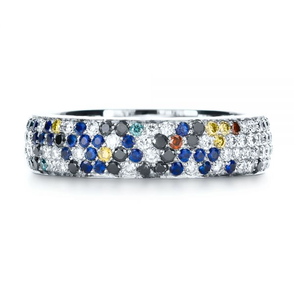 Custom Pattern Diamond Pave Engagement Band - Top View -  1137