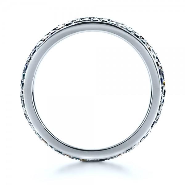 Custom Pattern Diamond Pave Engagement Band - Finger Through View
