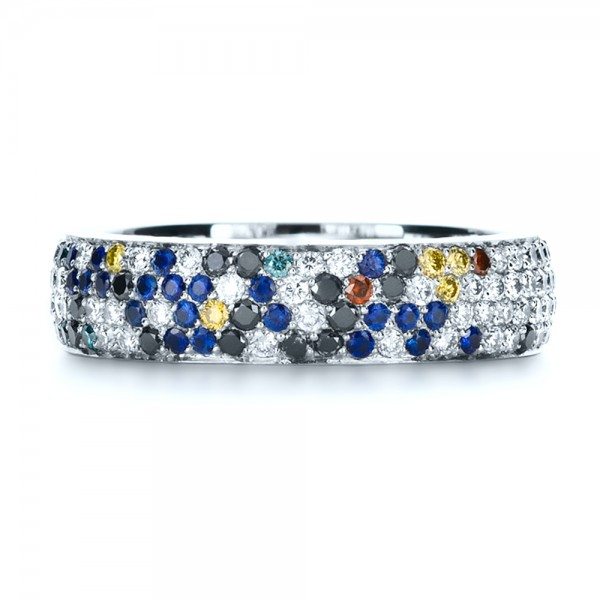Custom Pattern Diamond Pave Engagement Band - Top View