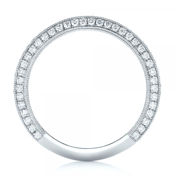 Custom Pave Diamond Wedding Band - Finger Through View