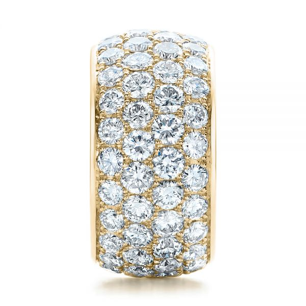 18k Yellow Gold 18k Yellow Gold Custom Pave Diamond Wedding Ring - Side View -