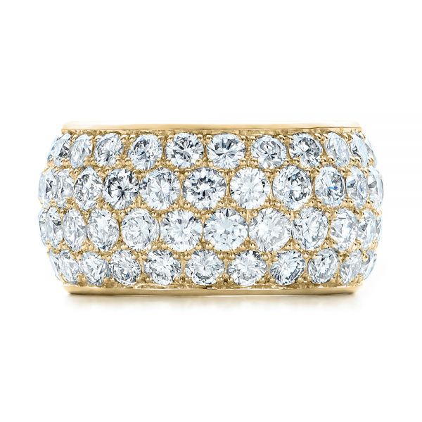 18k Yellow Gold 18k Yellow Gold Custom Pave Diamond Wedding Ring - Top View -