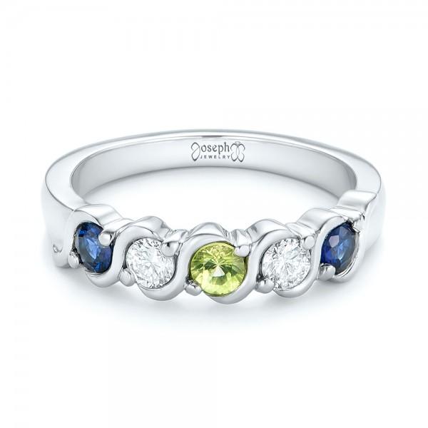 Custom Peridot, Blue Sapphire and Diamond Anniversary Band - Laying View