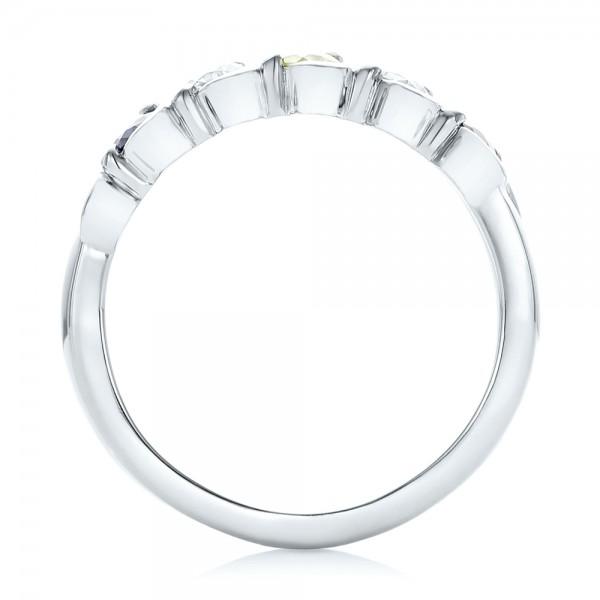 Custom Peridot, Blue Sapphire and Diamond Anniversary Band - Finger Through View