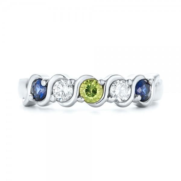 Custom Peridot Blue Sapphire And Diamond Anniversary Band