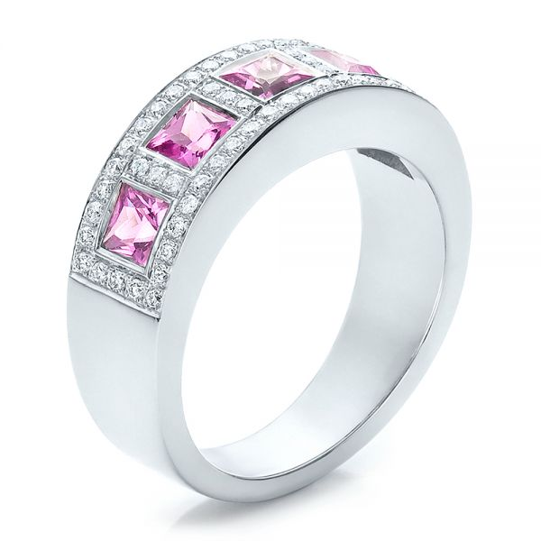 18k White Gold Custom Pink Sapphire And Diamond Anniversary Band - Three-Quarter View -  100552