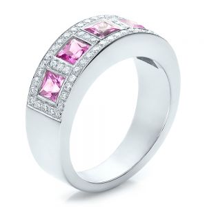 Custom Pink Sapphire and Diamond Anniversary Band - Image