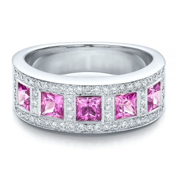 18k White Gold Custom Pink Sapphire And Diamond Anniversary Band - Flat View -  100552