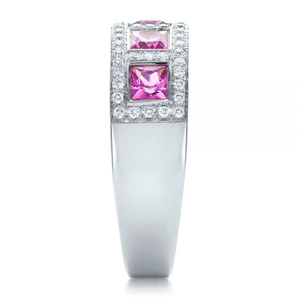 18k White Gold Custom Pink Sapphire And Diamond Anniversary Band - Side View -  100552