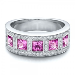 Custom Pink Sapphire and Diamond Anniversary Band