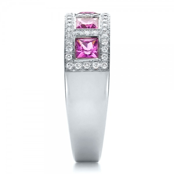 Custom Pink Sapphire and Diamond Anniversary Band - Side View