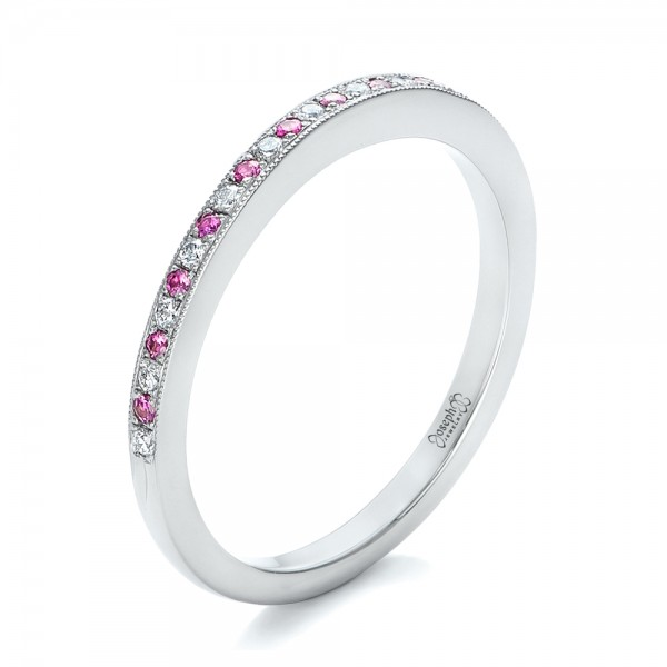 Custom Pink Sapphire and Diamond Wedding Ring