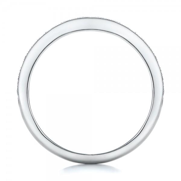Custom Pink Sapphire and Diamond Wedding Ring - Finger Through View
