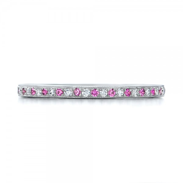 Custom Pink Sapphire and Diamond Wedding Ring - Top View