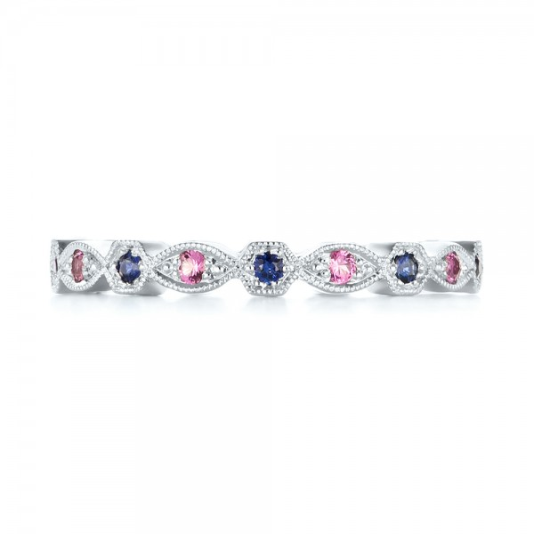 Custom Pink and Blue Sapphire Eternity Wedding Band - Top View