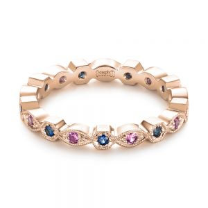 Custom Pink and Blue Sapphire Eternity Wedding Band