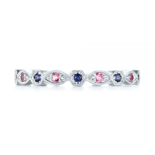 Custom Pink and Blue Sapphire Eternity Wedding Band - Top View -  103429 - Thumbnail