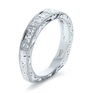 Custom Princess Cut Diamond Women's Wedding Band - Image