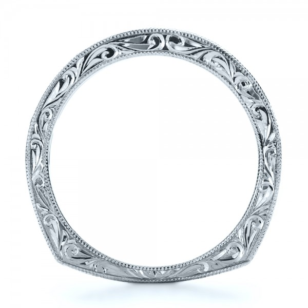 Custom Princess Cut Diamond Women's Wedding Band - Finger Through View